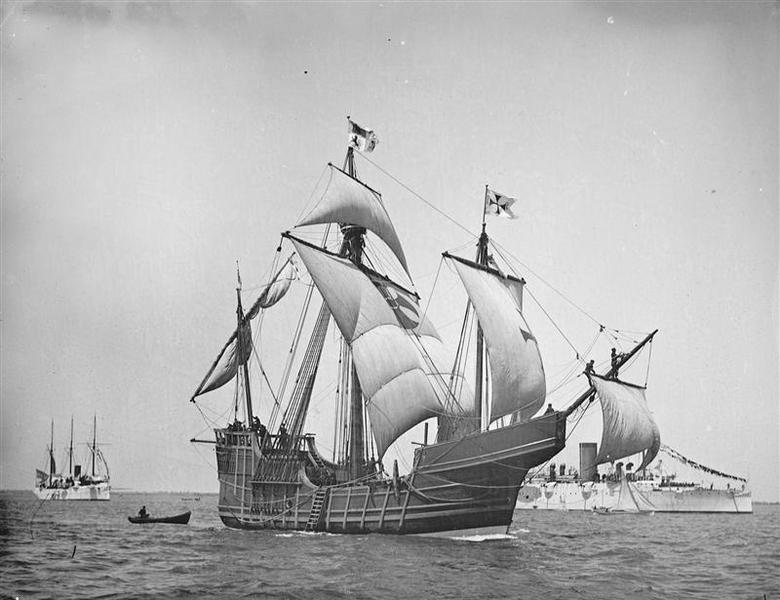 A replica of Christopher Columbus' caravel Santa Maria is shown in this circa 1892 handout photo provided by the United States Library of Congress on May 13, 2014. REUTERS/U.S. Library of Congress/Handout via Reuters