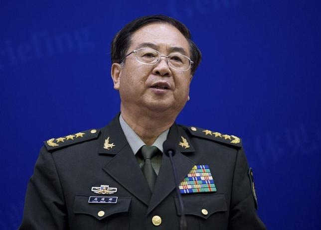 Chief of the general staff of China's People's Liberation Army Fang Fenghui speaks during a press briefing with U.S. Joint Chiefs Chairman General Martin Dempsey (not pictured) at the Bayi Building in Beijing April 22, 2013. REUTERS/Andy Wong/Pool