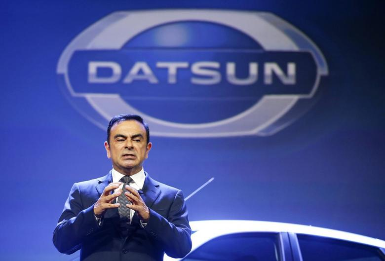 Chairman and Chief Executive Officer of Renault-Nissan Alliance Carlos Ghosn speaks during a Russian presentation of the new Datsun on-DO car in Moscow April 4, 2014. REUTERS/Artur Bainozarov