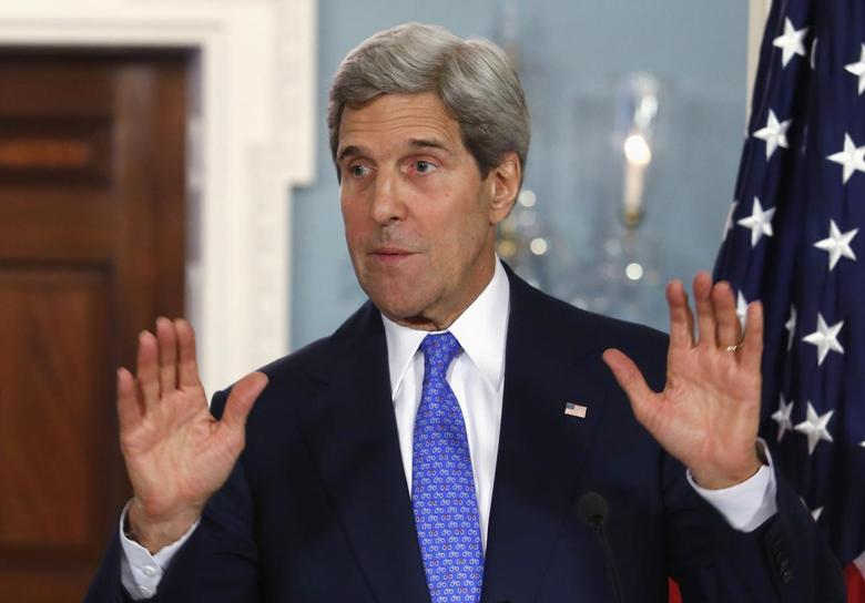 U.S. Secretary of State John Kerry speaks to the media at the State Department in Washington May 13, 2014. REUTERS/Yuri Gripas