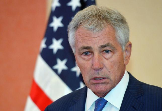 U.S. Defense Secretary Chuck Hagel speaks during a news conference after attending the Gulf Cooperation Council (GCC) meeting at the Conference Palace in Jeddah May 14, 2014. REUTERS/Mandel Ngan/Pool