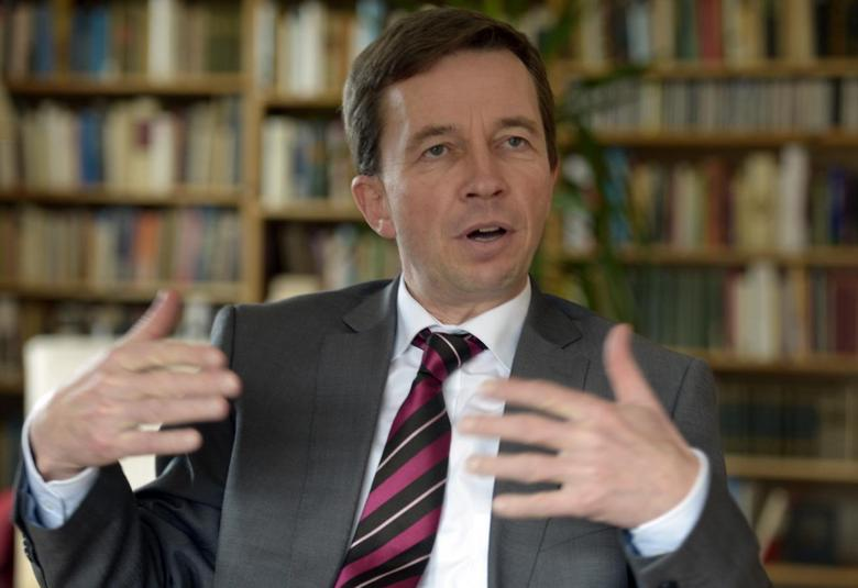 Bernd Lucke, chairman of German anti-euro party the Alternative for Germany (AfD), gestures during an interview in Winsen, February 7, 2014. REUTERS/Fabian Bimmer