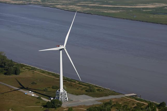 Aerial view of a Haliade 150 offshore wind turbine at Alstom's offshore wind site at Le Carnet in Frossay on the Loire Estuary western France, May 15, 2014. REUTERS/Stephane Mahe