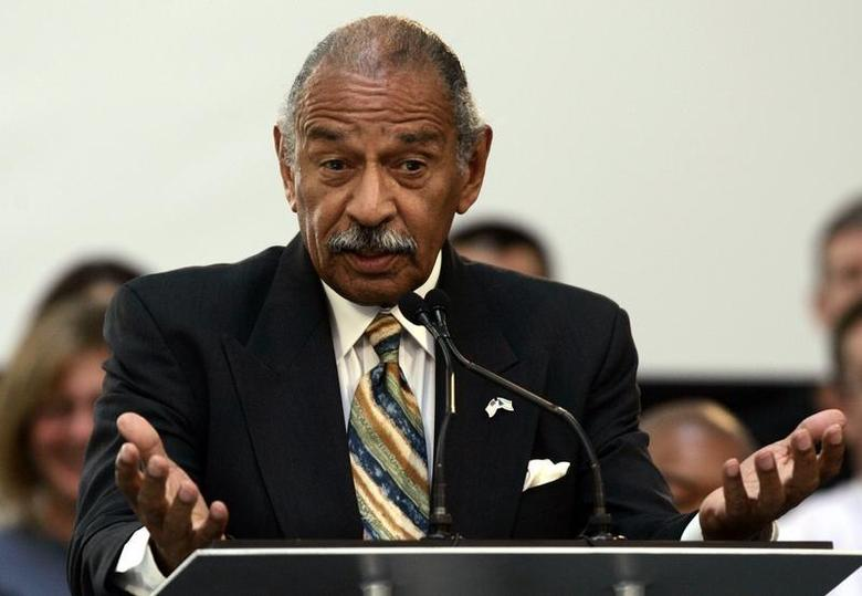 U.S. Representative John Conyers addresses the audience during a news conference at the Ford Motor Research & Innovation Center in Dearborn, Michigan June 23, 2009. REUTERS/Rebecca Cook