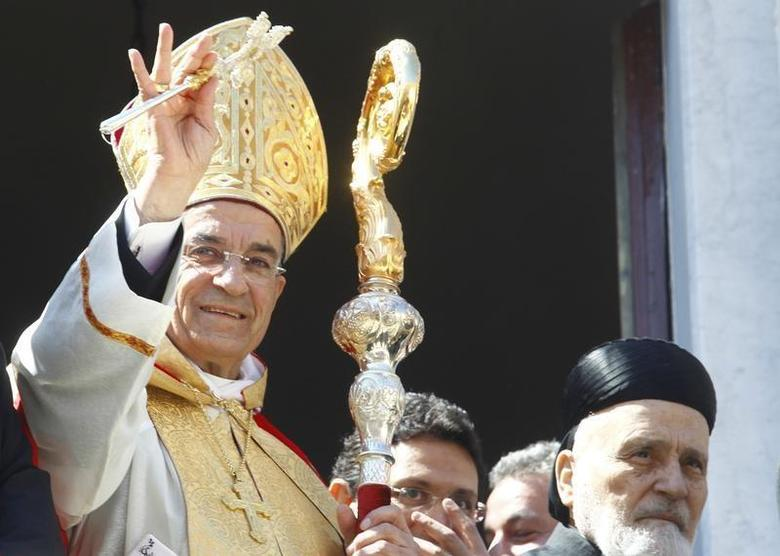 Lebanon's newly elected Christian Maronite Patriarch Beshara al-Rai greets his audience at the patriarchate in Bkerki, north of Beirut, March 15, 2011. REUTERS/Wadih Shlink
