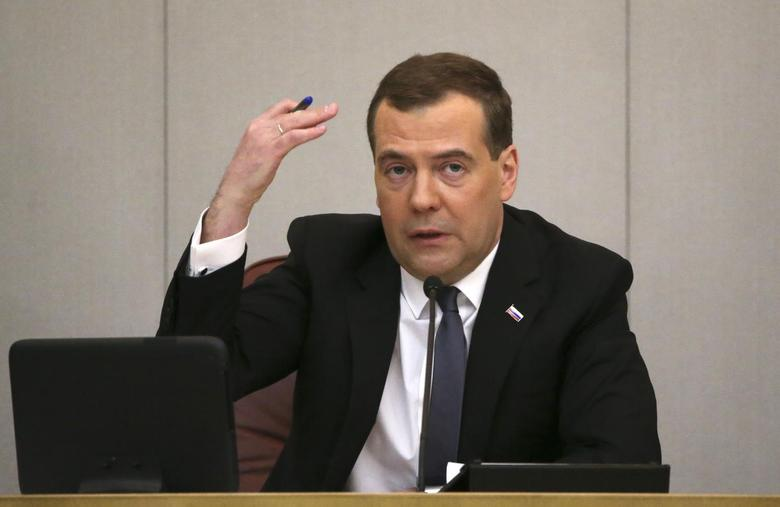 Russia's Prime Minister Dmitry Medvedev speaks as he visits the State Duma, the lower house of parliament, in Moscow April 22, 2014. REUTERS/Sergei Karpukhin