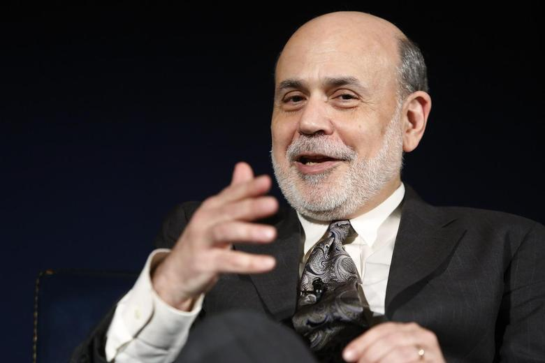 U.S. Federal Reserve Chairman Ben Bernanke sits for an onstage interview at the National Economists Club annual dinner at the U.S. Chamber of Commerce in Washington, in this file photo from November 19, 2013. REUTERS/Jonathan Ernst/Files