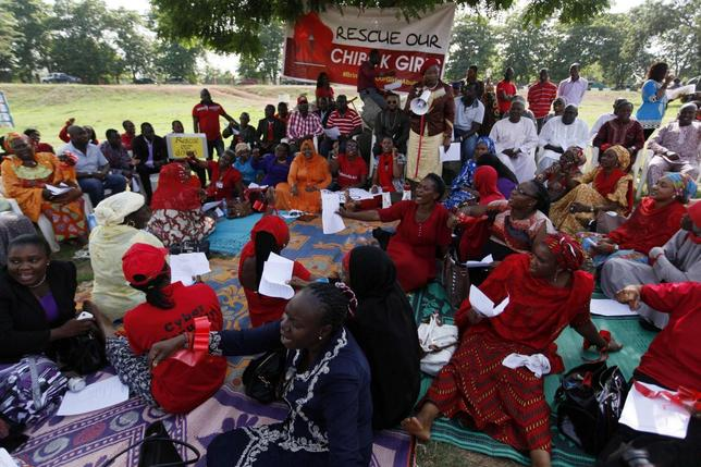 Protesters gather during a sit-in protest in support of the release of the abducted Chibok schoolgirls at the Unity Fountain in Abuja May 15, 2014. REUTERS/Afolabi Sotunde