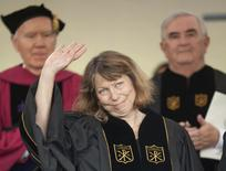 Jill Abramson, former Executive Editor of the New York Times, waves after giving the commencement address at Wake Forest University in Winston-Salem, North Carolina May 19, 2014. REUTERS/Jason Miczek