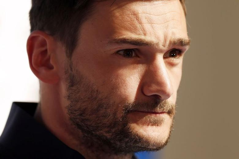 France's national soccer team goalkeeper Hugo Lloris attends a news conference at the training camp in Clairefontaine, near Paris, in preparation for the upcoming World Cup, May 19, 2014.  REUTERS/Charles Platiau