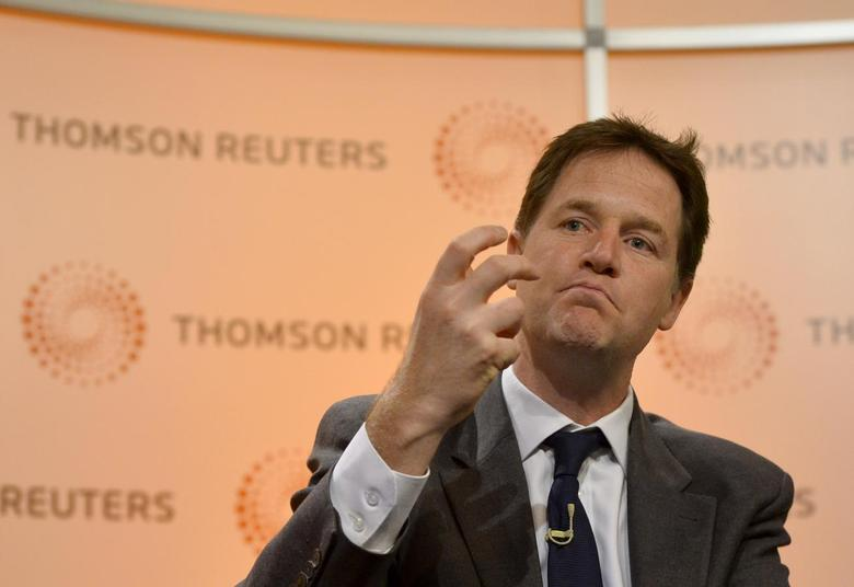 Britain's Deputy Prime Minister Nick Clegg answers questions at a Reuters 'Newsmaker' event in Canary Wharf, London May 9, 2014. REUTERS/Toby Melville