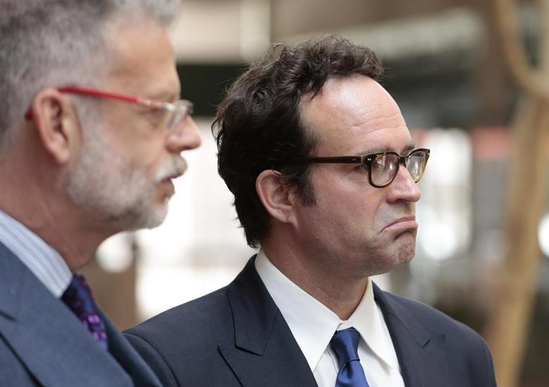 Actor Jason Patric (R) and his attorney Fred Silberberg (L) speak following a custody hearing at the 2nd District Court of Appeals in Los Angeles May 8, 2014. REUTERS/Jonathan Alcorn