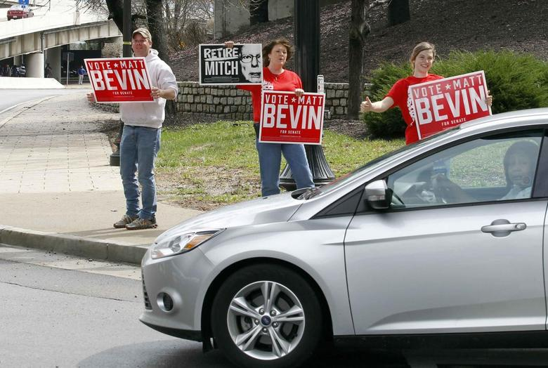 Campaign volunteers hold signs as they rally for Republican senate candidate Matt Bevin in Louisville, Kentucky, April 4, 2014. REUTERS/John Sommers II
