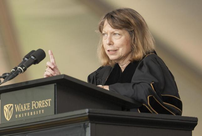 Jill Abramson, former Executive Editor of the New York Times, gives the commencement address at Wake Forest University in Winston-Salem, North Carolina May 19, 2014. REUTERS/Jason Miczek