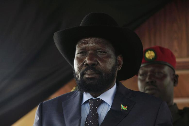 South Sudan's President Salva Kiir stands in front of the late Sudanese liberation hero John Garang's mausoleum at the 31st anniversary of the Sudan People's Liberation Army (SPLA) in Juba May 16, 2014. REUTERS/Andreea Campeanu