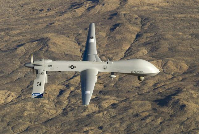 A U.S. Air Force MQ-1 Predator unmanned aerial vehicle assigned to the California Air National Guard's 163rd Reconnaissance Wing flies near the Southern California Logistics Airport in Victorville, California in this January 7, 2012 USAF handout photo obtained by Reuters February 6, 2013. REUTERS/U.S. Air Force/Tech. Sgt. Effrain Lopez/Handout