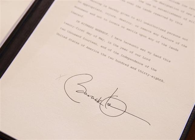 The signature of U.S. President Barack Obama on a proclamation establishing the Organ Mountains-Desert Peaks National Monument in south-central New Mexico is seen at the Department of Interior in Washington May 21, 2014. REUTERS/Larry Downing