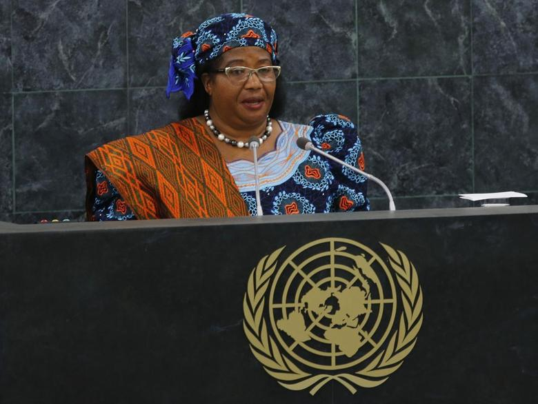 Malawi's President Joyce Hilda Mtila Banda addresses the 68th session of the United Nations General Assembly at the U.N. headquarters in New York, September 24, 2013. REUTERS/Ray Stubblebine