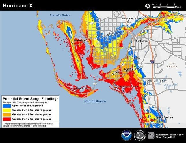 An example of the new experimental storm surge potential flooding map showing southwest Florida is seen in this handout image provided by NOAA, April 15, 2014. REUTERS/NOAA/Handout via Reuters