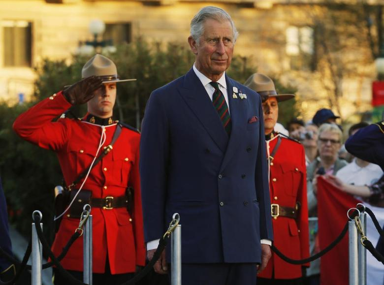 Britain's Prince Charles looks on during his farewell ceremony in Winnipeg, Manitoba, May 21, 2014. REUTERS/Mark Blinch