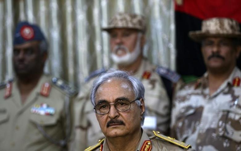 General Khalifa Haftar looks on during a news conference at a sports club in Abyar, a small town to the east of Benghazi, May 21, 2014. REUTERS/Esam Omran Al-Fetori