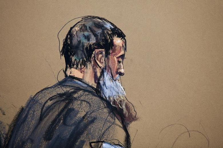 A courtroom sketch shows Nazih al-Ragye known by the alias Abu Anas al-Liby as he appears in Manhattan Federal Court for an arraignment in New York, October 15, 2013. REUTERS/Jane Rosenberg
