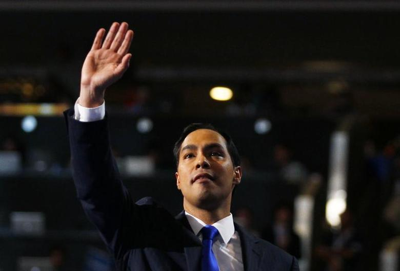 Keynote speaker and San Antonio, Texas Mayor Julian Castro waves while addressing the first session of the Democratic National Convention in Charlotte, North Carolina, September 4, 2012. REUTERS/Jessica Rinaldi