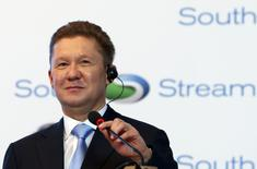 Gazprom Chief Executive Alexei Miller speaks during a ceremony to mark the start of construction on the Serbian leg of Gazprom's South Stream gas pipeline, in Belgrade November 24, 2013. REUTERS/Marko Djurica