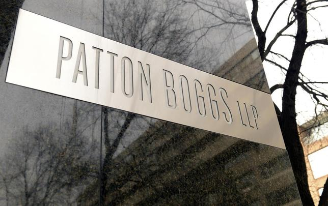 A general view of the front entrance for law firm Patton Boggs LLC, in Washington, March 4, 2014. REUTERS/Mike Theiler