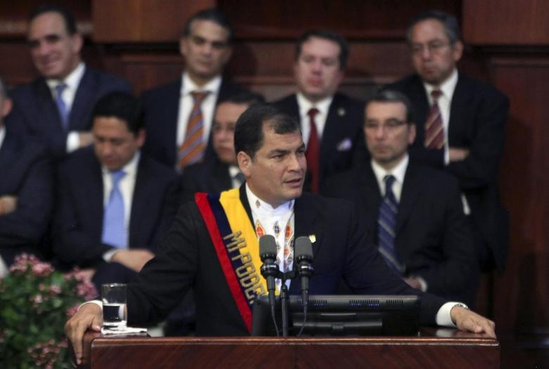 Ecuador's President Rafael Correa addresses the nation with a speech to commemorate 192 years of independence from Spain at the National Assembly in Quito May 24, 2014. REUTERS/Stringer