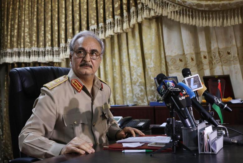 General Khalifa Haftar attends a news conference at Benina air base in Benghazi May 24, 2014. REUTERS/Esam Omran Al-Fetori