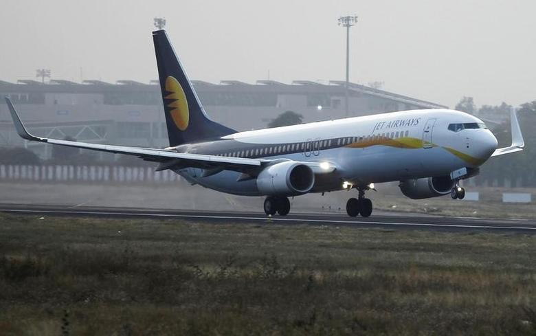 A Jet Airways passenger plane takes off from Sardar Vallabhbhai Patel International Airport in Ahmedabad February 1, 2013. REUTERS/Amit Dave/Files