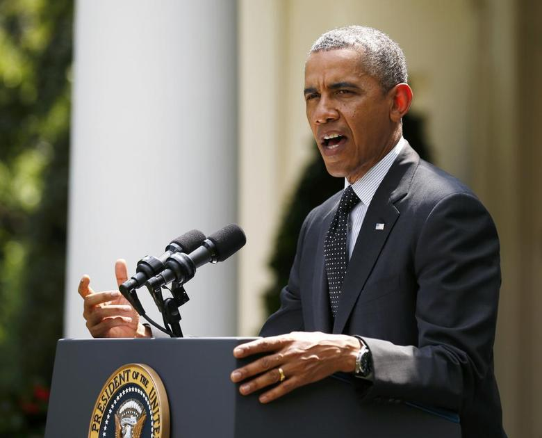 U.S. President Barack Obama delivers an announcement on the number of U.S. troops that will remain in Afghanistan after the formal troop drawdown at the end of this year, in the White House Rose Garden in Washington, May 27, 2014.    REUTERS/Kevin Lamarque
