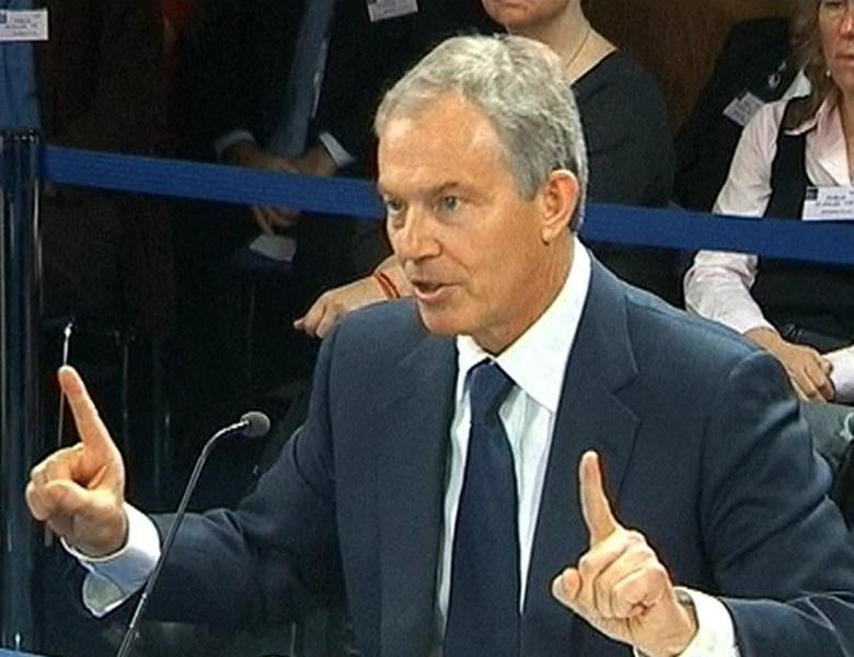 A still image from video shows former British Prime Minister Tony Blair speaking at an inquiry into Britain's role in the Iraq War, at the Queen Elizabeth II Conference Centre, in central London January 21, 2011.   REUTERS/Parbul TV via Reuters TV