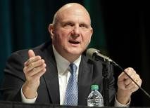 Microsoft Chief Executive Steve Ballmer answers questions at the company's annual shareholder meeting in Bellevue, Washington in this file photo taken November 19, 2013. REUTERS/Jason Redmond/Files