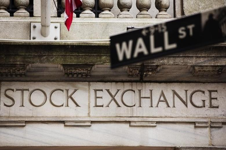 A street sign for Wall Street hangs in front of the New York Stock Exchange May 8, 2013. REUTERS/Lucas Jackson/Files