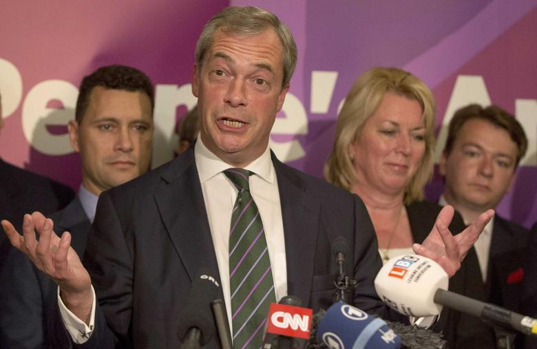 UK Independence Party (UKIP) leader Nigel Farage delivers a speech in London May 26, 2014. REUTERS/Neil Hall