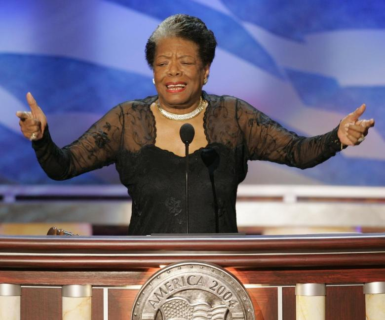 African-American author and poet Maya Angelou speaks before delegates during the second night of the 2004 Democratic National Convention at the FleetCenter in Boston, Massachusetts in this July 27, 2004 file photo.   REUTERS/Gary Hershorn/Files