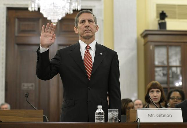USO President and CEO Sloan Gibson is sworn in prior to testifying at his confirmation hearing to be the number two in the Veterans Administration, before a U.S. Senate Committee on Veteran's Affairs, on Capitol Hill in Washington, in this file image from November 6, 2013. REUTERS/Mike Theiler/Files