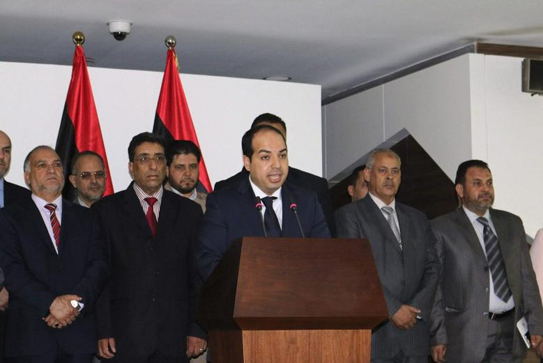 Libya's new Prime Minister Ahmed Maiteeq speaks at a news conference with members of the government in Tripoli June 2, 2014.  REUTERS/Hani Amara