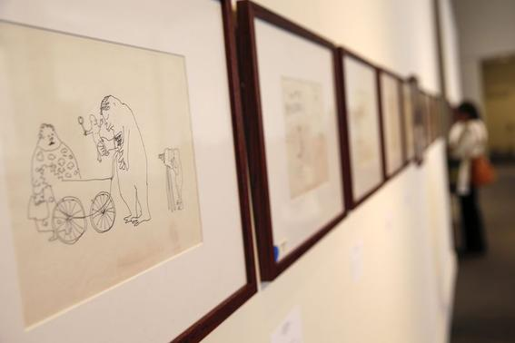 An untitled drawing by John Lennon is seen during the press preview of a collection of Lennon's original drawings and manuscripts from 1964-65 at Sotheby's auction house in New York May 29, 2014. REUTERS-Shannon Stapleton