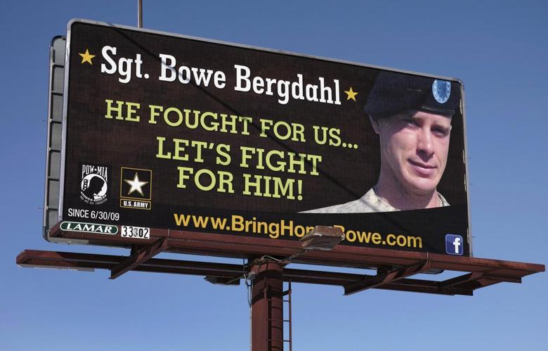 A billboard calling for the release of U.S. Army Sergeant Bowe Bergdahl, held for nearly five years by the Taliban after being captured in Afghanistan, is shown in this picture taken near Spokane, Washington on February 25, 2014.  REUTERS/Jeff T. Green