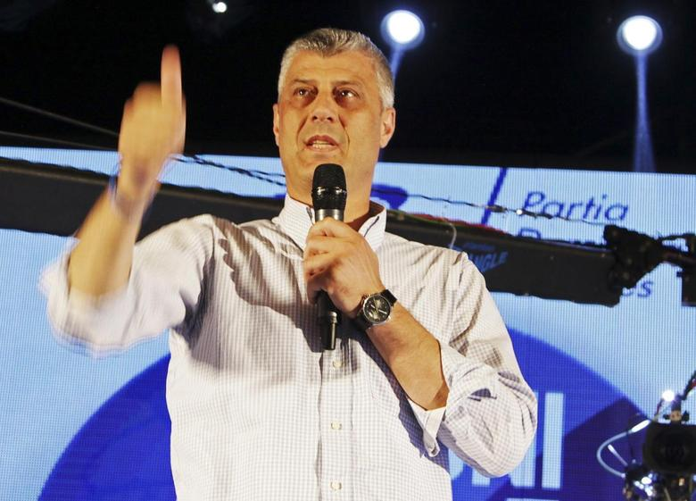 Kosovo Prime Minister Hashim Thaci speaks during a campaign rally in Gjakova June 2, 2014. REUTERS/Hazir Reka