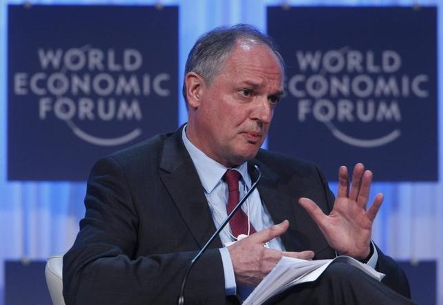 Paul Polman, Chief Executive Officer, Unilever, of Britain, attends a session at the World Economic Forum (WEF) in Davos, January 26, 2012.   REUTERS/Christian Hartmann