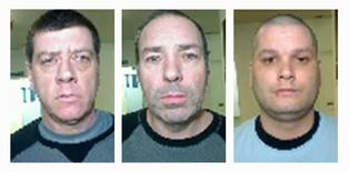 A combination photo shows the escapees (L-R) Denis Lefebvre, 53, Serge Pomerleau, 49, and Yves Denis, 35, who escaped from Orsainville Detention Centre using a helicopter in suburban Quebec City, Quebec June 7, 2014, in this undated handout picture released by Surete de Quebec on June 9, 2014.  REUTERS/Surete du Quebec/Handout via Reuters