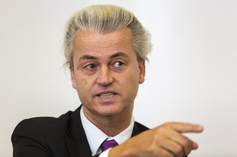 Freedom Party (PVV) leader Geert Wilders speaks during an interview with Reuters in The Hague April 17, 2014.    REUTERS/Michael Kooren