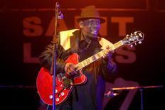 Blues singer Lucky Peterson plays the guitar on stage at the Saint Louis jazz festival in Saint Louis June 8, 2014.REUTERS/Laurent Gerrer