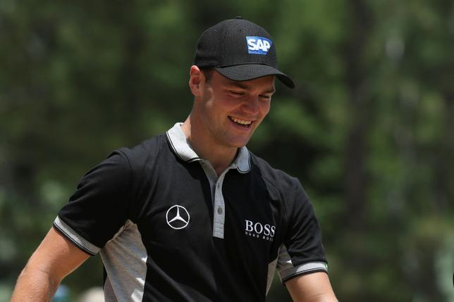 Martin Kaymer smiles walking from the 8th tee box during the second round of the 2014 U.S. Open golf tournament at Pinehurst Resort Country Club - #2 Course. Mandatory Credit: Jason Getz-USA TODAY Sports