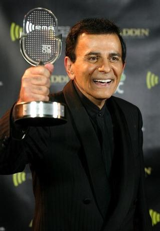 Casey Kasem poses with his Radio Icon Award at the 2003 Radio MusicAwards, at the Aladdin Theatre for the Performing Arts in Las Vegas,Nevada, October 27, 2003. REUTERS/Steve Marcus