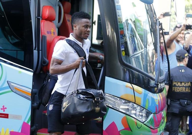 England national soccer team player Raheem Sterling arrives at the Blue tree hotel in Manaus, June 12, 2014. REUTERS/Andres Stapff